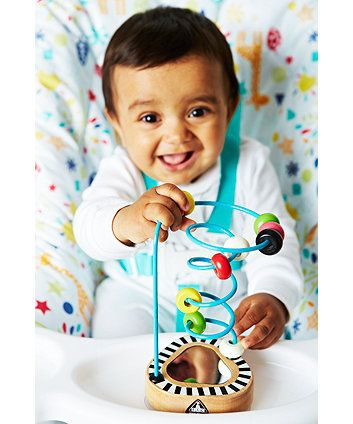 high chair suction toys girls office a wooden toy with mirror and colourful beads to attract your baby s attention