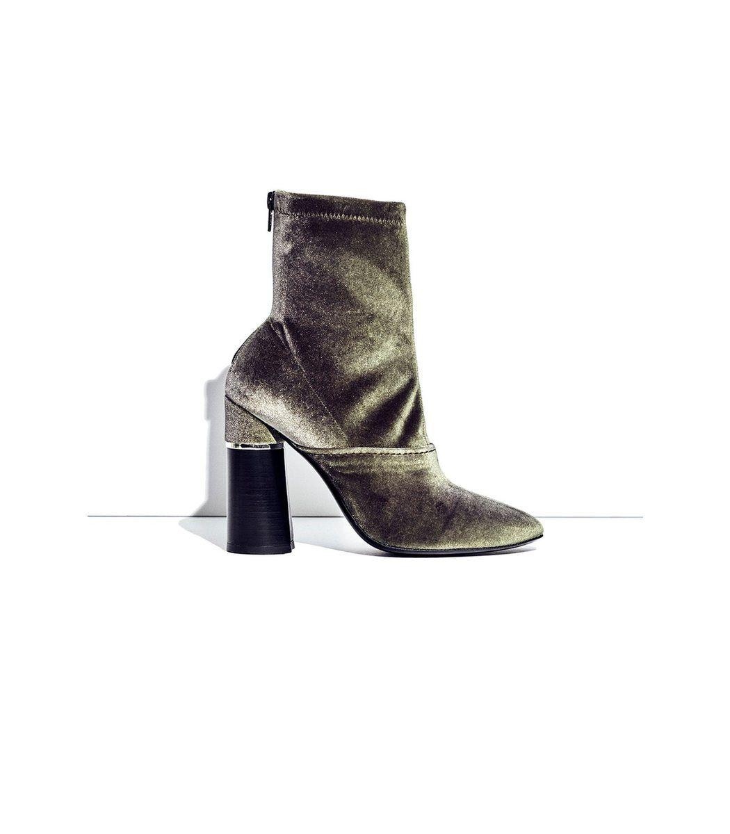 3.1 Phillip Lim Designer Shoes, Kyoto Olive Velvet Stretch High Heel Ankle Boots