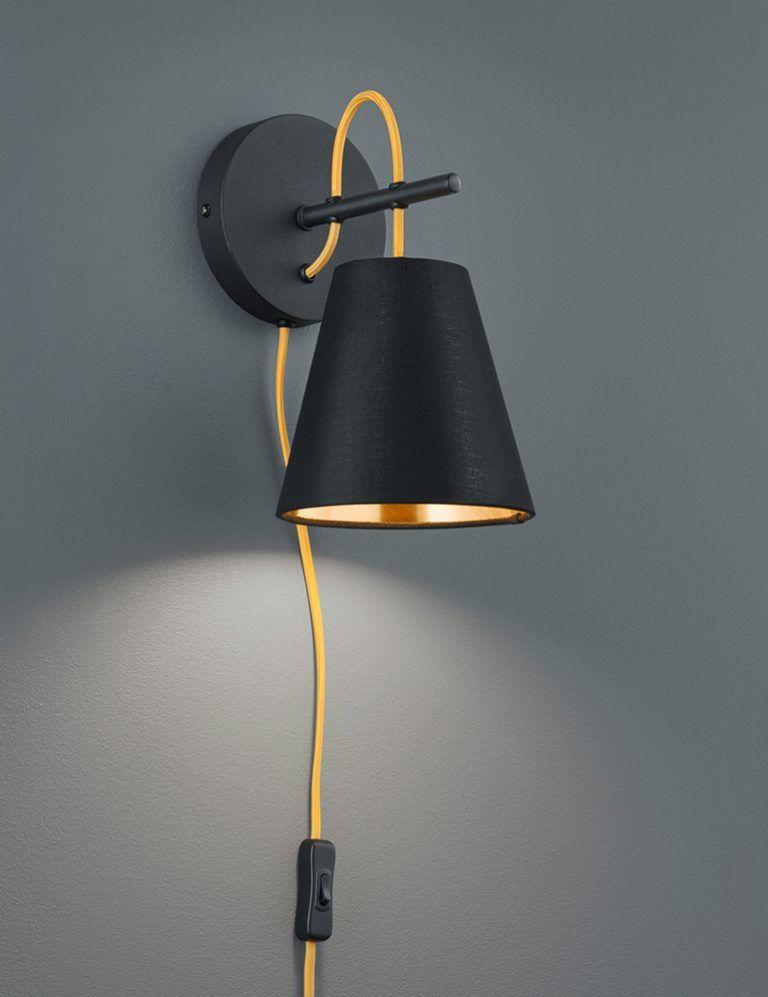 Zwarte Wandlamp Met Gouden Binnenzijde 1 Wandlamp Slaapkamer Verlichting Lampen Voor Slaapkamer