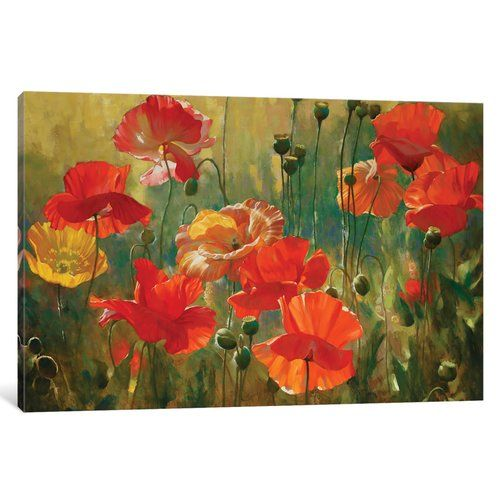 Poppy Fields Painting On Wrapped Canvas In 2021 Poppy Field Painting Poppy Art Art