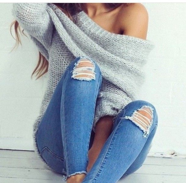 b7552037178dc Wheretoget - Off-shoulder knitted grey sweater and blue ripped jeans ...