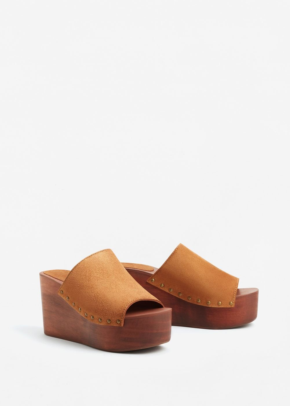 Skorzane Buty Na Drewnianym Koturnie Kobieta Mango Polska Leather Wedges Wood Heel Shoes Shoes Heels Wedges