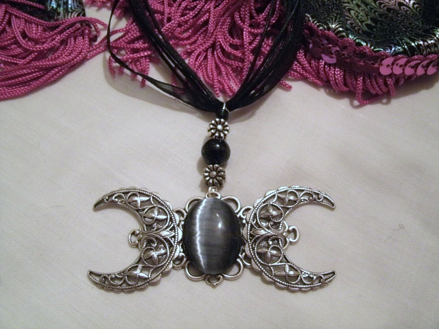 triple necklace choker moon glass wiccan from pentagram pagan locket product jewelry goddess memories photo frame pendant magic pentacle