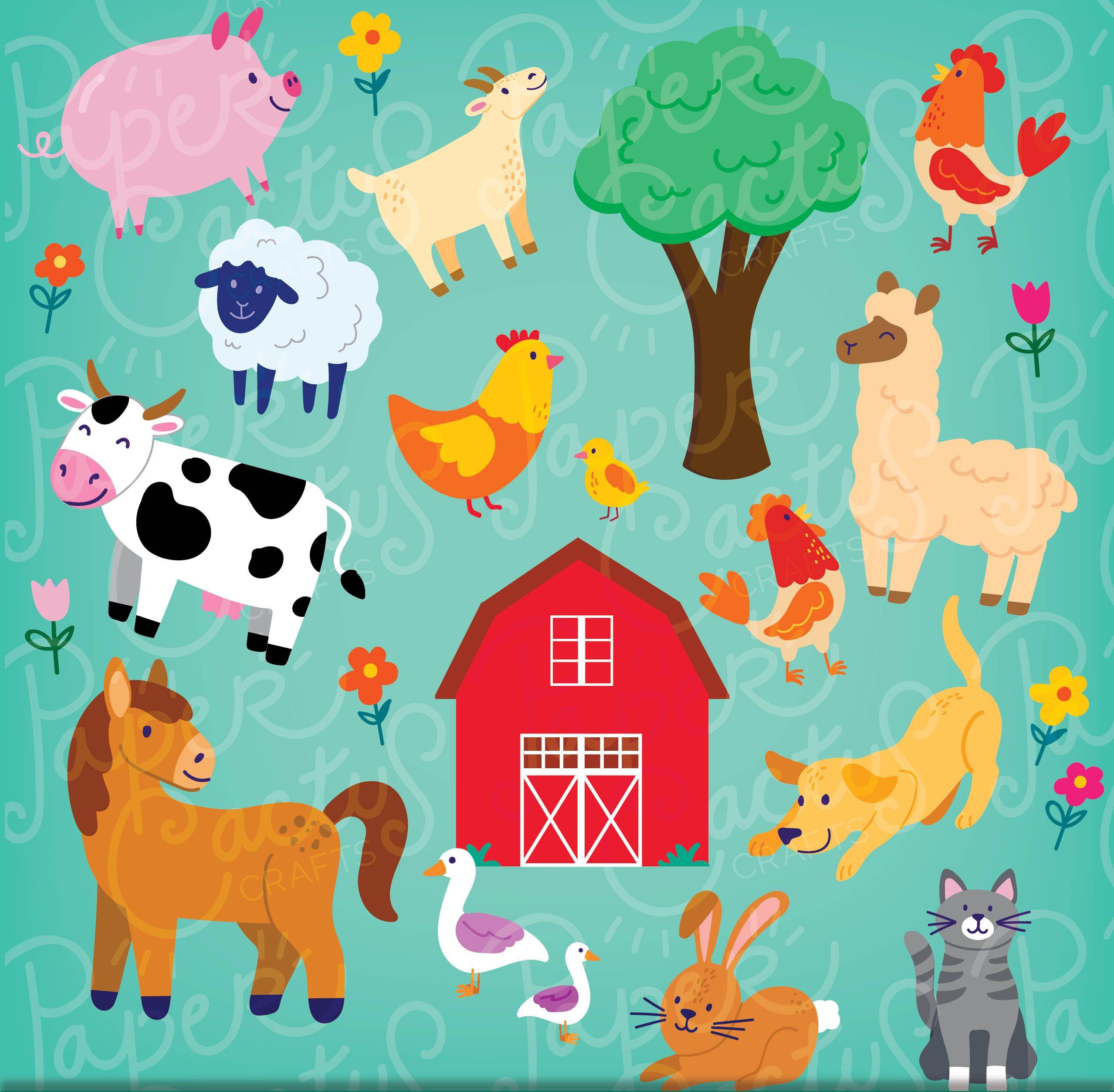 Farm Animals Clipart Instant Download Illustrated Great Etsy Farm Animals Clipart Animals Clipart Farm Animals