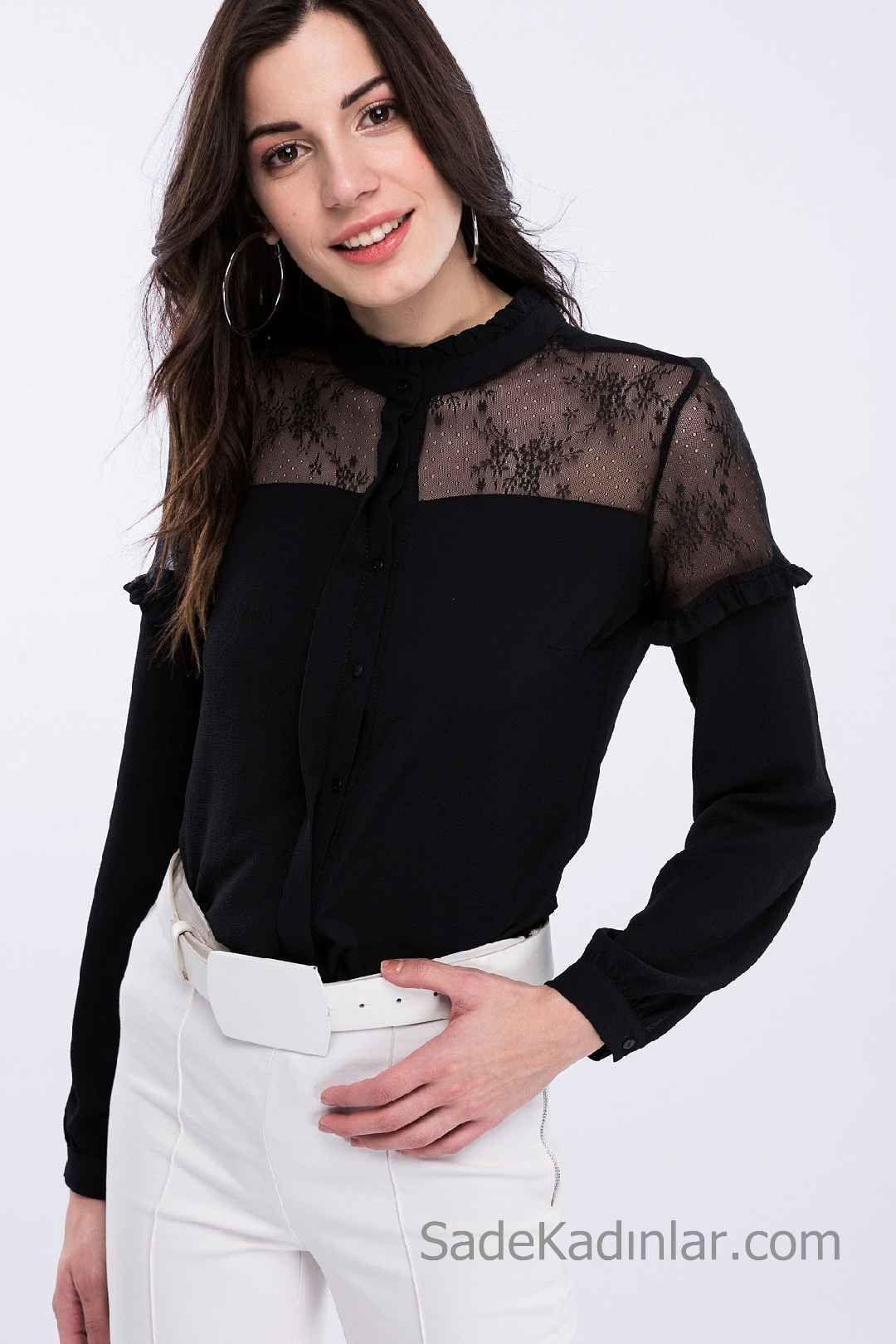Siyah Gomlek Modelleri Uzun Kollu Transparan Yaka Gupur Dantelli Moda Stilleri Kadin Giyim Moda