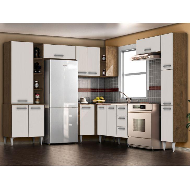 Cozinha Modulada 7 Pecas Milena 2708 Marrom Branco Milani