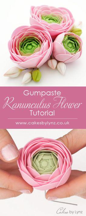 Gumpaste Ranunculus Flower Video Tutorial Cake Flowers Tutorial Gum Paste Flowers Tutorials Fondant Flower Tutorial