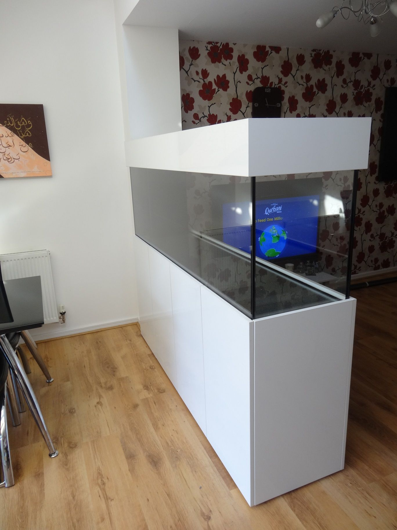 Room divider tank 72x24x18 from Prime Aquariums Lower Use as a bar