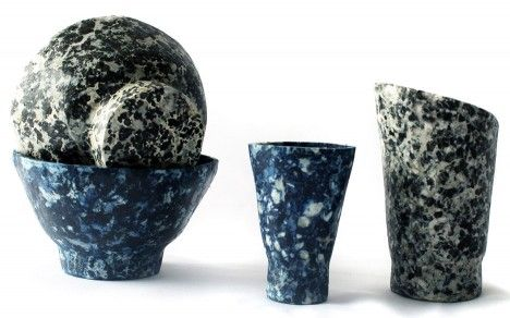 To demonstrate the material's properties, Silva-Dawson created a series of vessels using compression moulding – a technique used to form many plastic products