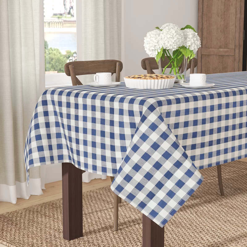 Arlington Checkered Cotton Tablecloth In 2020 Table Cloth Cotton Tablecloths Tablecloth Sizes