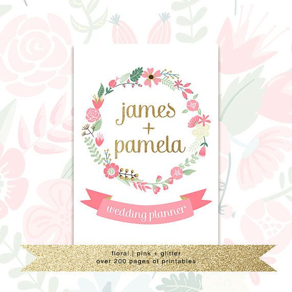 Printable Wedding Planner With Custom Cover • Floral Pink