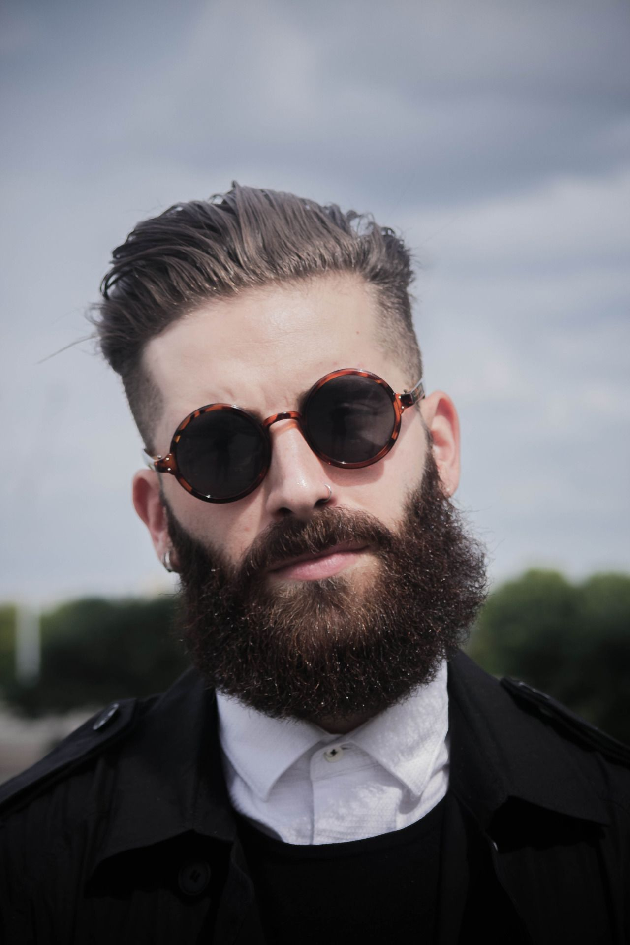 4409f0a6e7c8 Great Hair & Beard with #dapper round men's sunglasses | Fabulous ...