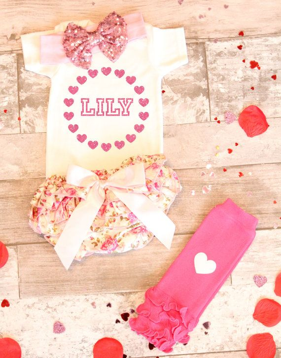 Baby Girl Valentines Day Outfit Baby Girl by OliverOliviaApparel