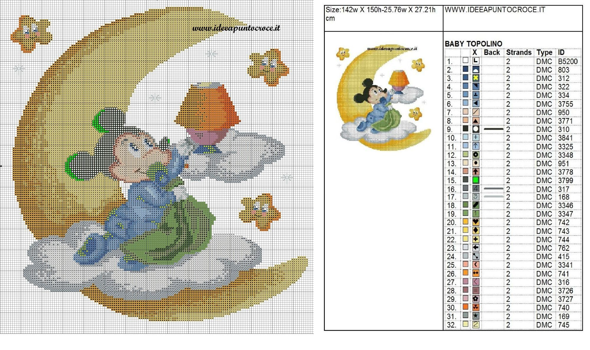 Schema Punto Croce Baby Topolino Disney Cross Stitch Cross