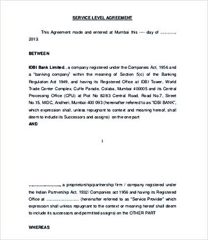 Banking Service Level Agreement Template , Service Level Agreement - agreement for services template