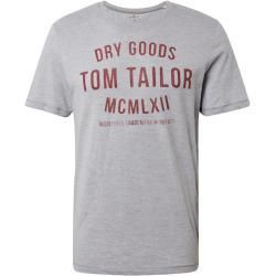 Tom Tailor men's t shirt with print, gray, plain colored
