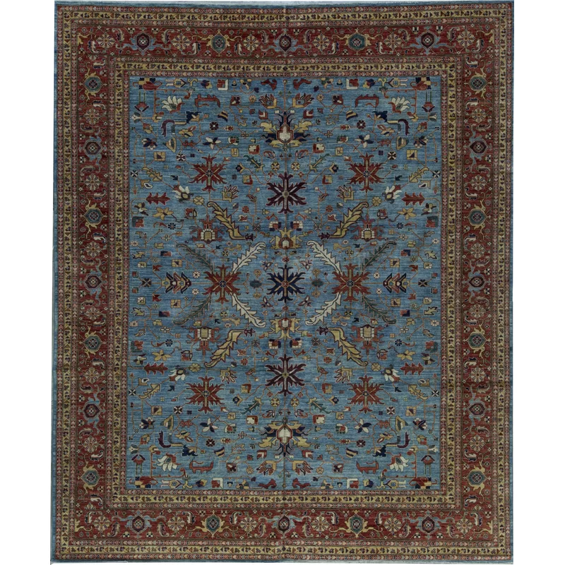 Bokara Rug Co Inc Aryana Oriental Hand Knotted 12 1 X 14 8 Wool Light Blue Red Area Rug Wayfair Area Rugs Rugs Red Area Rug