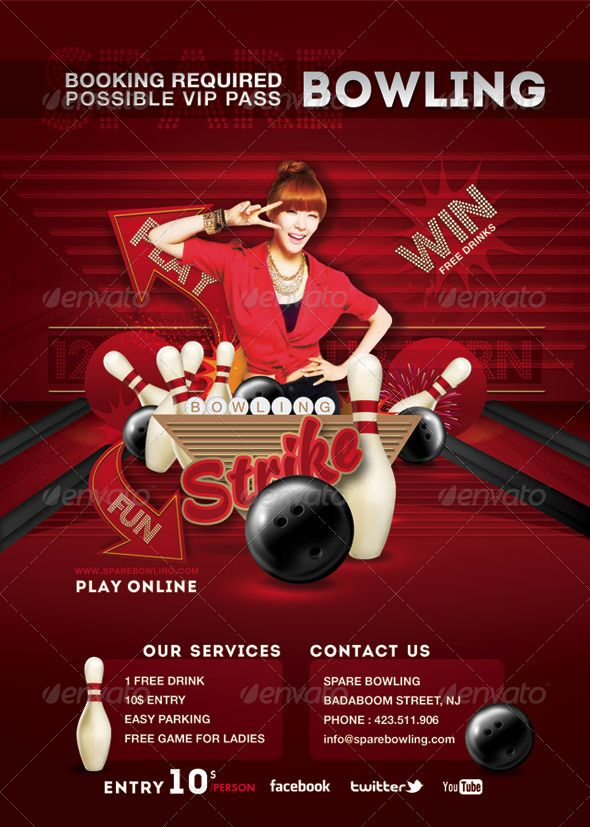 Flyer Bowling Evening Game Party Game, Game party and Parties - bowling flyer template free