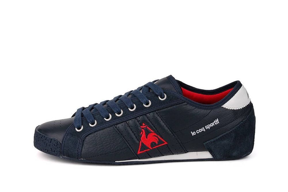 88f9da1432d7a2 Le Coq Sportif Escrime Low Men Premium Leather Trainers Dress Blue Sneakers   LeCoqSportif  FashionTrainers  Casual
