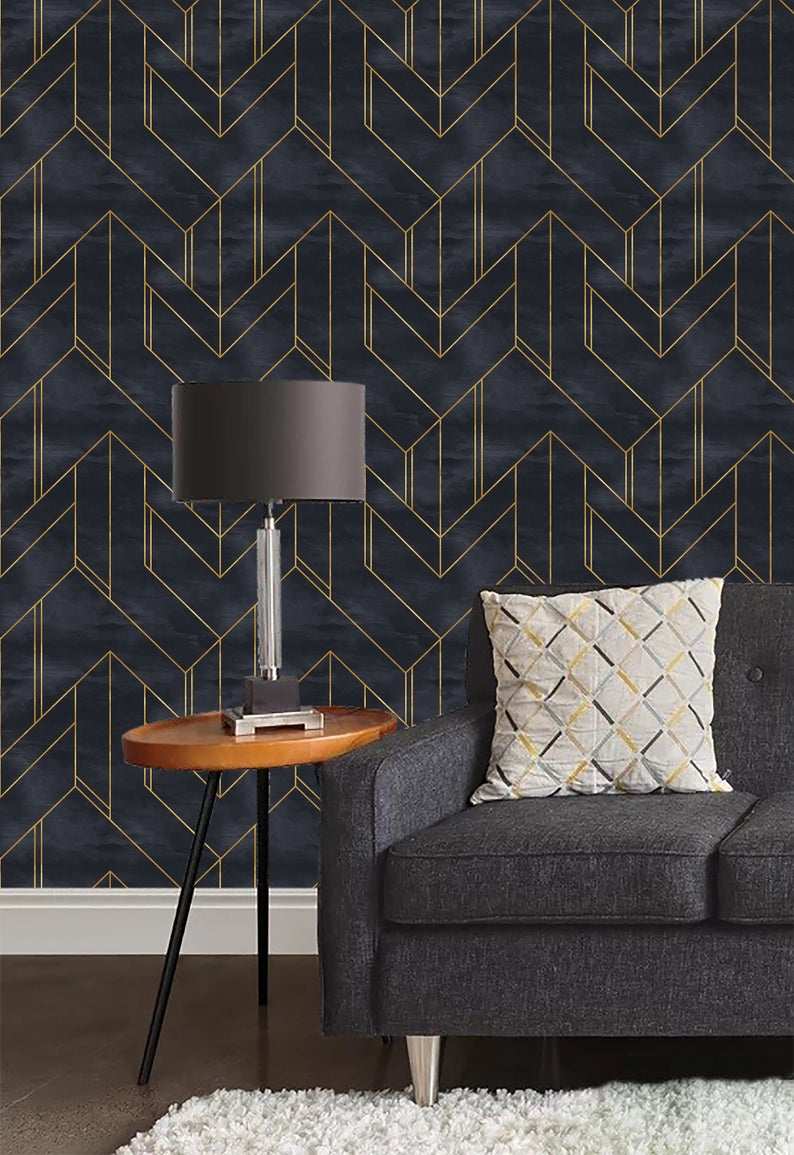 Gold and Navy Blue Geometric Wallpaper,Peel and stick