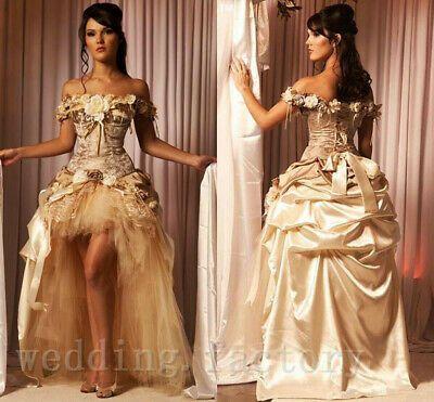Vestido de Novia Sexy champán Hi-Low volante vestidos de novia Flor del hombro | eBay