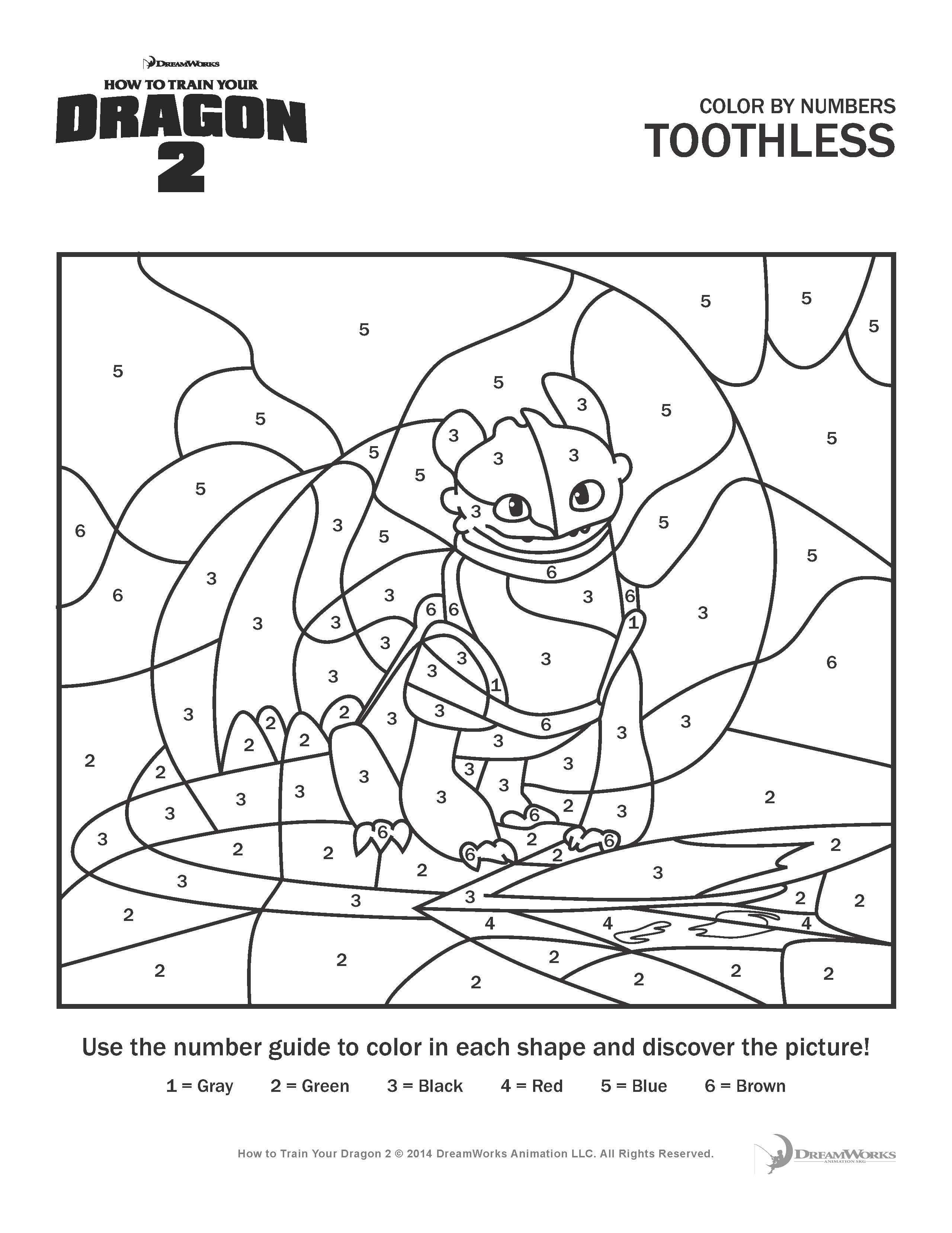 Httyd2 Printables Color By Numbers
