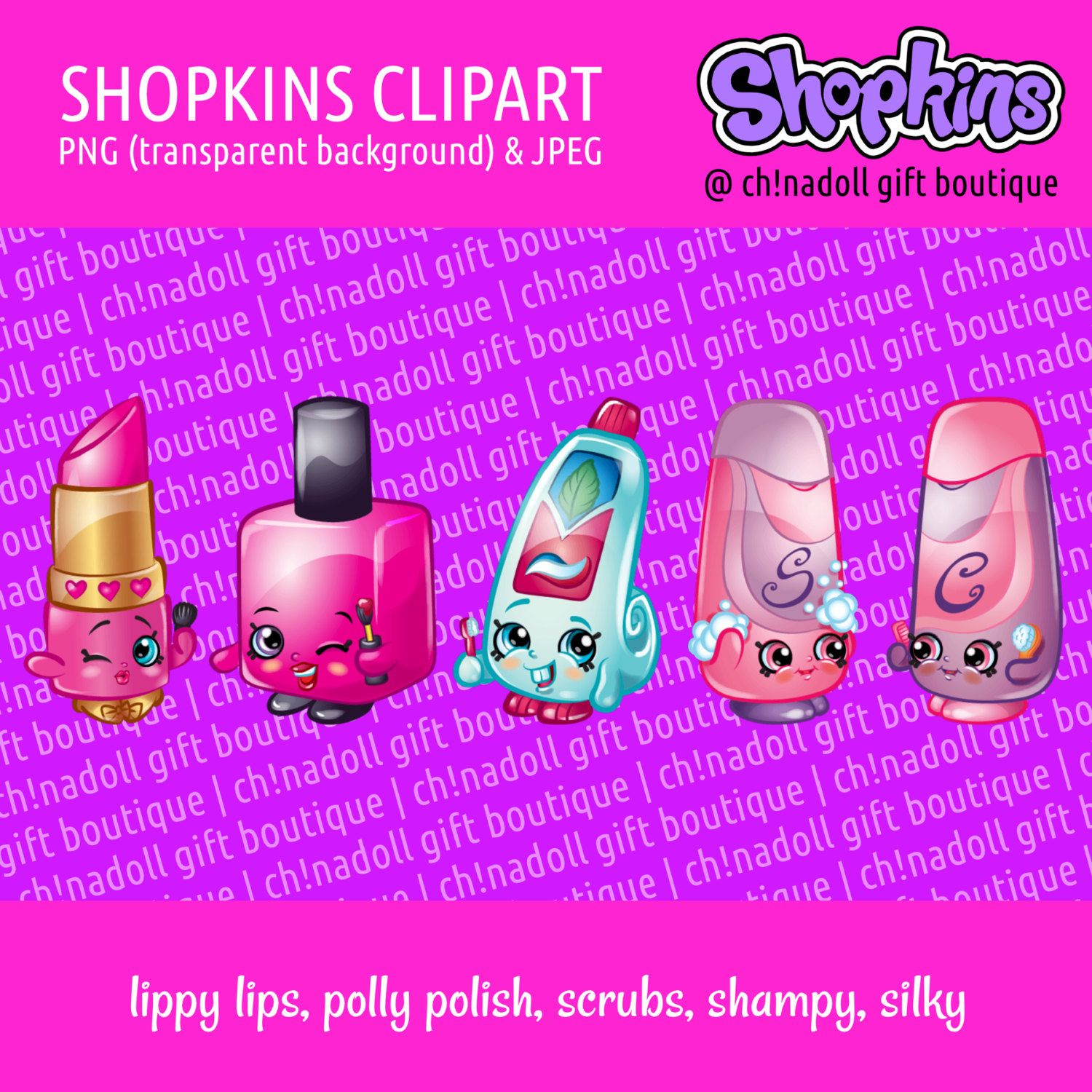 Shopkins coloring pages polly polish - Shopkins Clipart Health And Beauty Lippy Lips Polly Polish Scrubs Shampy Silky Jpeg And Png Instant Download Diy Printable