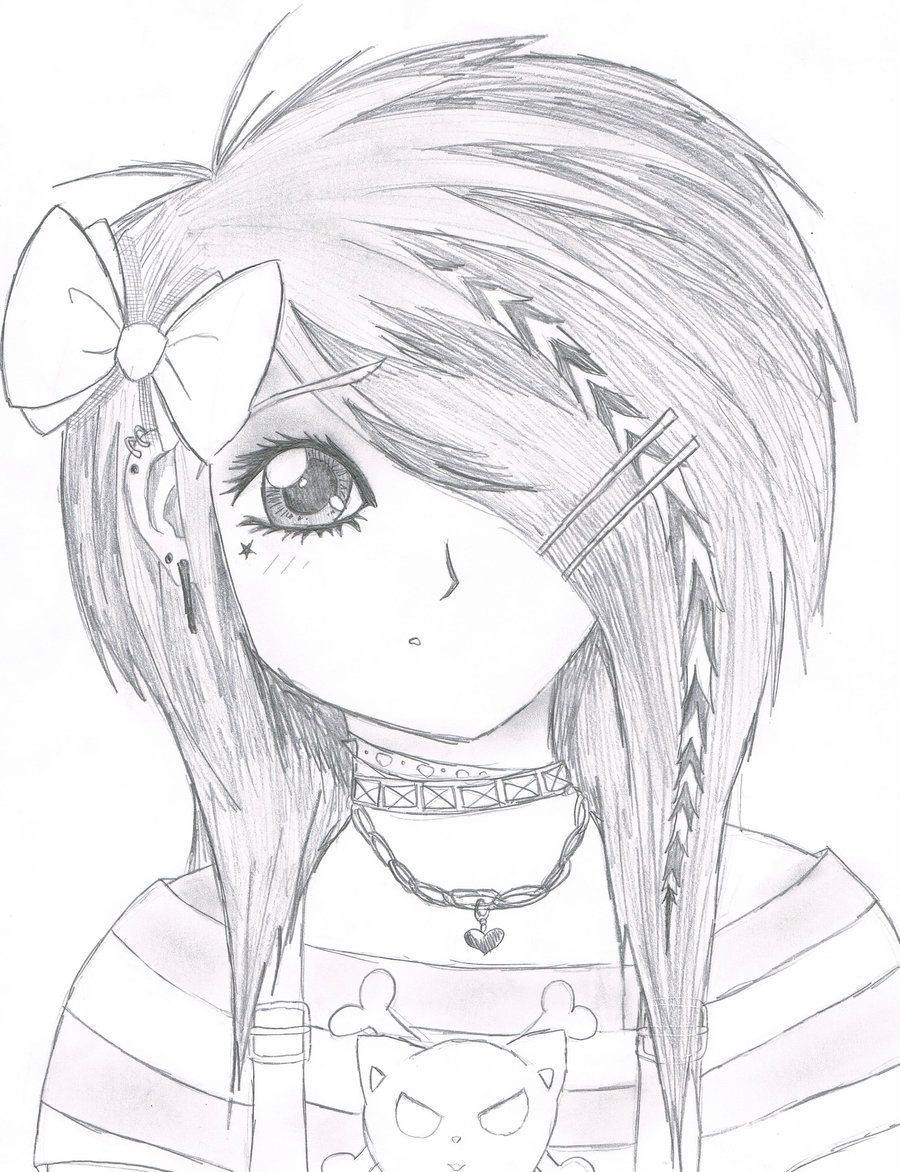 Easy anime drawings emo scene gurl by kattify7764 on for Cool easy kid drawings