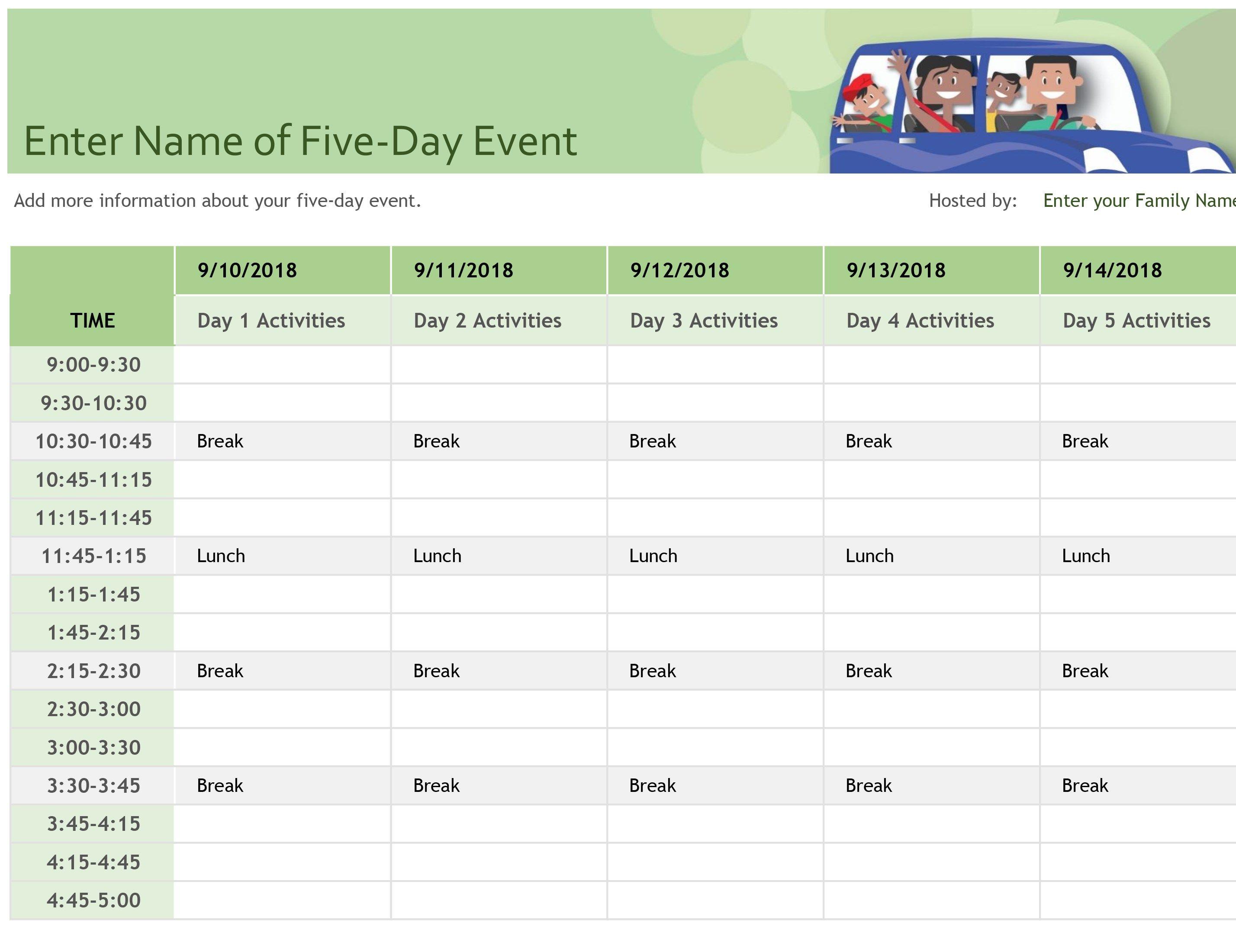 Family event schedule Schedule template, Class schedule