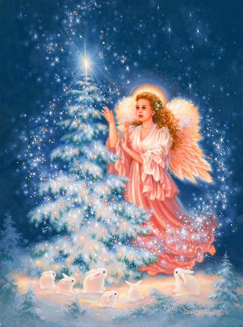 Рождественские открытки с ангелам, картинки инструмент