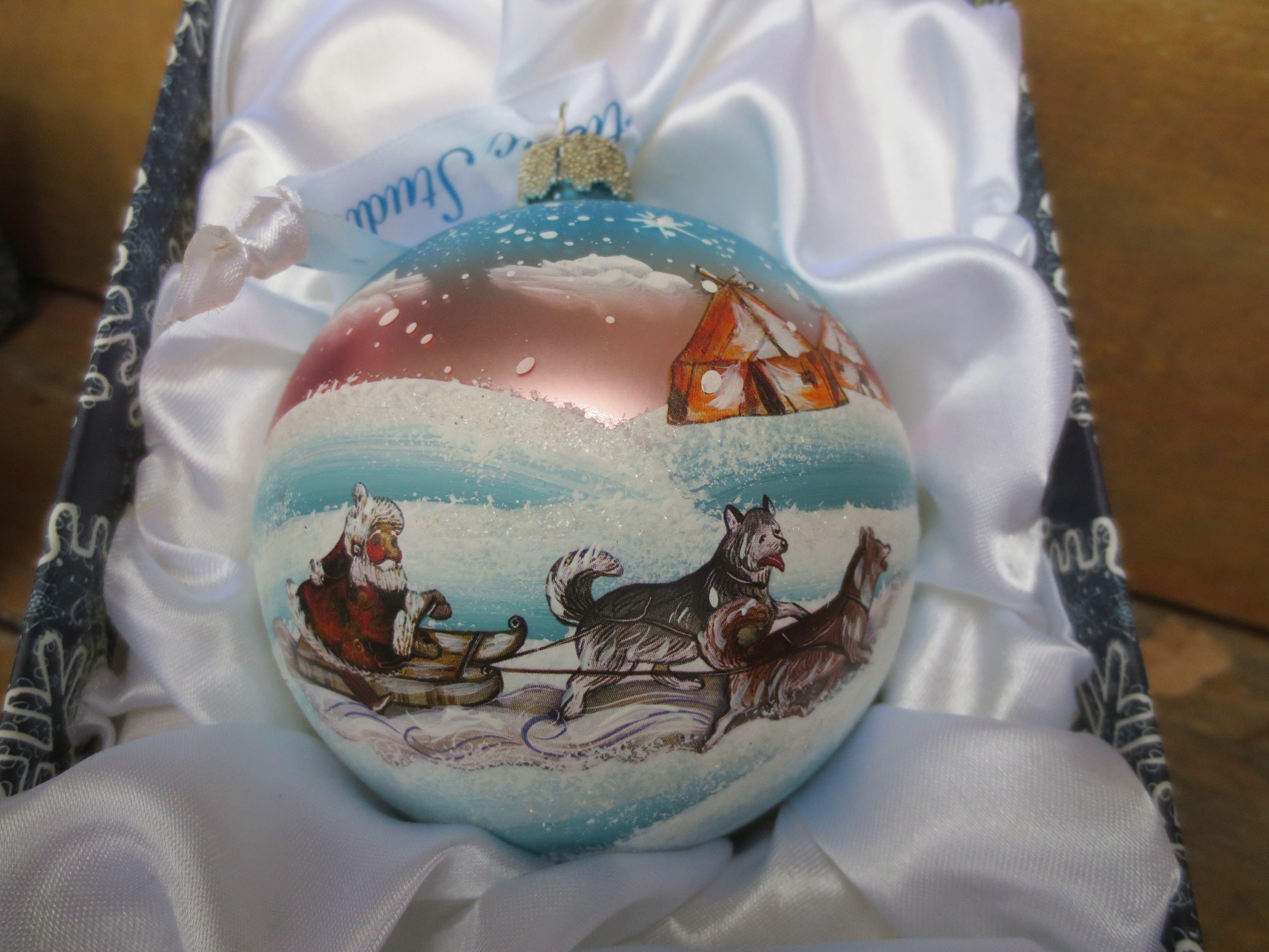 Hand painted sled dog ornament dog ornaments dog