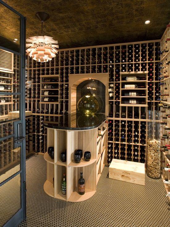 Wine Cellar Design Wtih Peninsula For Tastings Wine Cellar