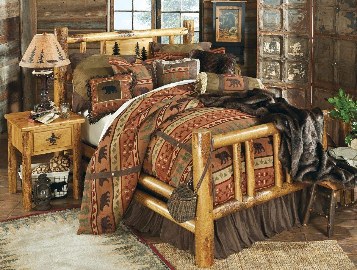 Lodge pole pine log bed with engraving Log bedroom sets