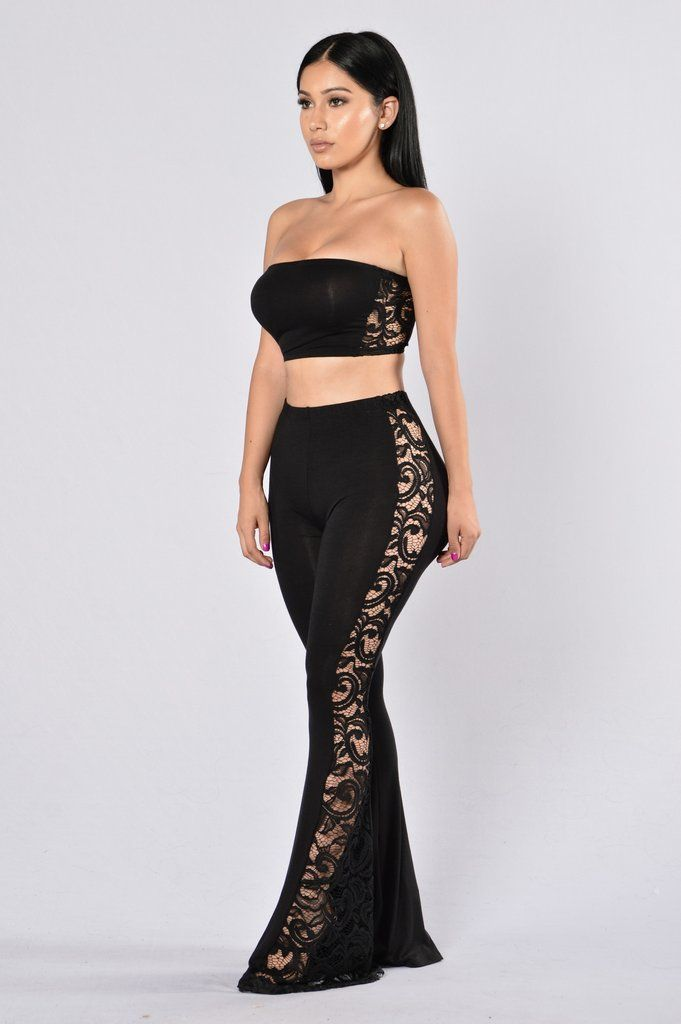 1985509f239 Available in Black - Tube Crop Top - Long Bell Bottom Pants - Open Lace  Detail Sides - Sold as a Set - Elastic Waist Band - Made in USA - 96% Rayon  4% ...