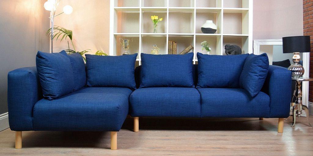 Navy Blue Fabric Corner Sofa Design
