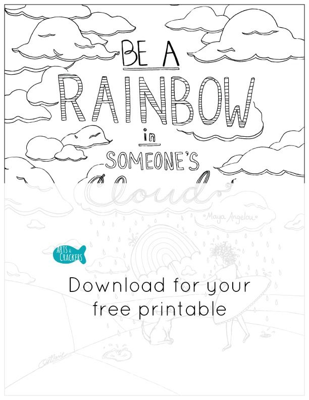 FREE 'Rainbow in Someone's Cloud' Coloring Page (With