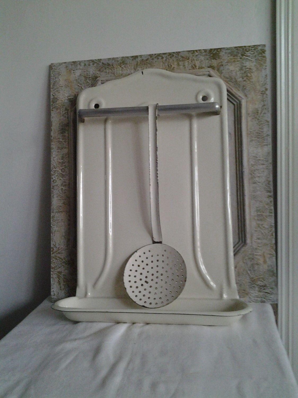 Kitchen Utensil Drip Tray, French Vintage Enamel Utensil Rack, Cream Enamel  By FrenchPastTimes On