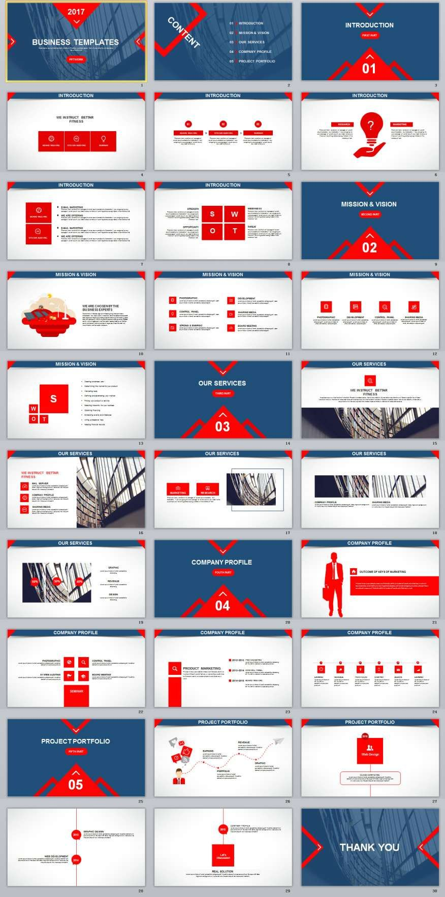 30 Blue Red Business Report Powerpoint Templates G G
