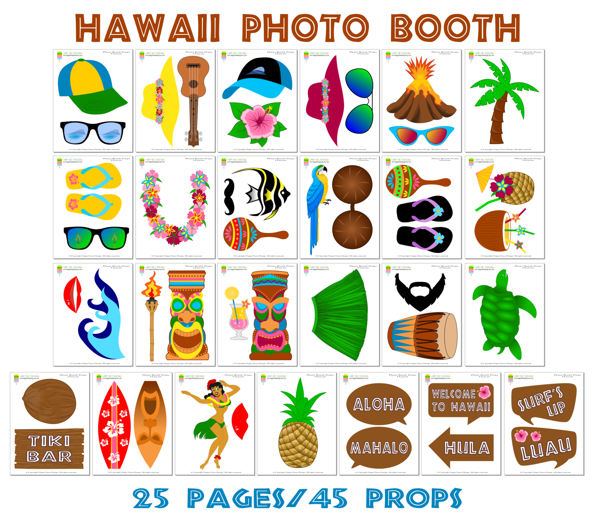 Printable Hawaii Booth Props Luau Party Props