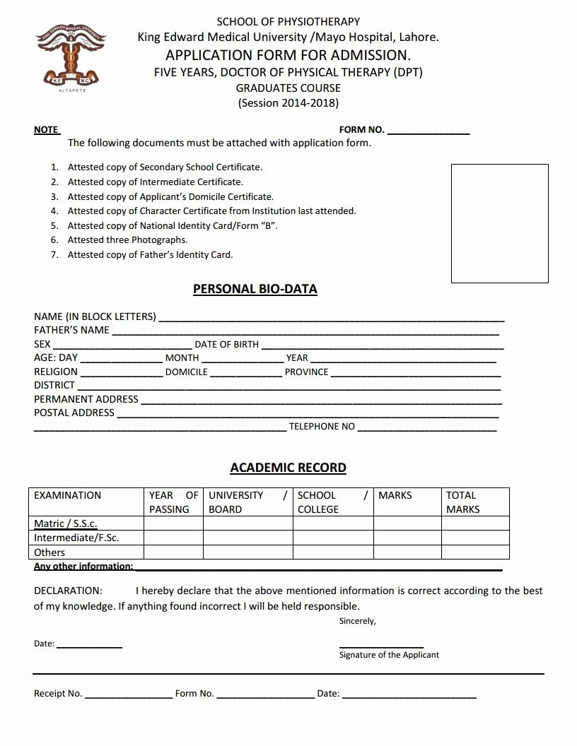 Medical Physical Form For Employment Awesome King Edward Medical University Application Form For Doctor Doctor Of Physical Therapy Physics Medical Medical physical form for employment