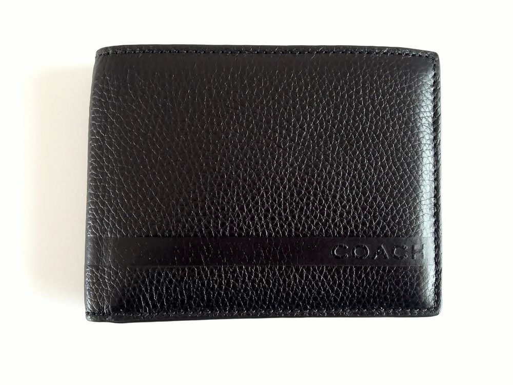 423be8afe203 NWT COACH CAMDEN PEBBLED PASSCASE ID WALLET BLACK F74280