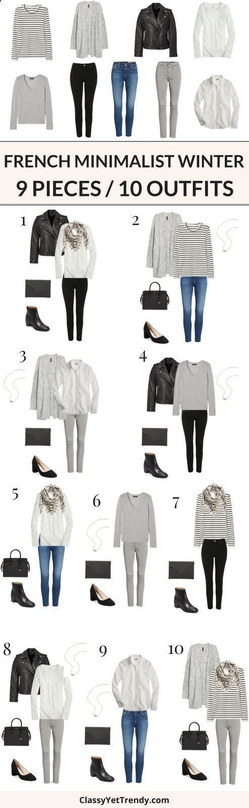 Combine Jewelry With Clothing – 9 Pieces / 10 Outfits (French Minimalist Winter