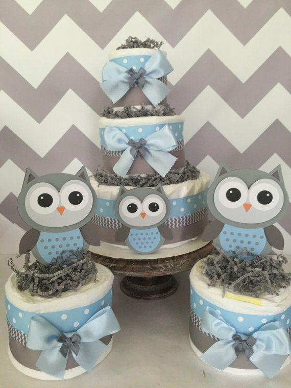 Set Of 3 Owl Diaper Cake Centerpieces In Blue By Alldiapercakes