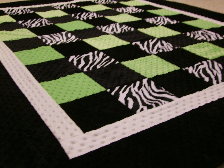 Zebra lime and black minky blanket twin size via etsy