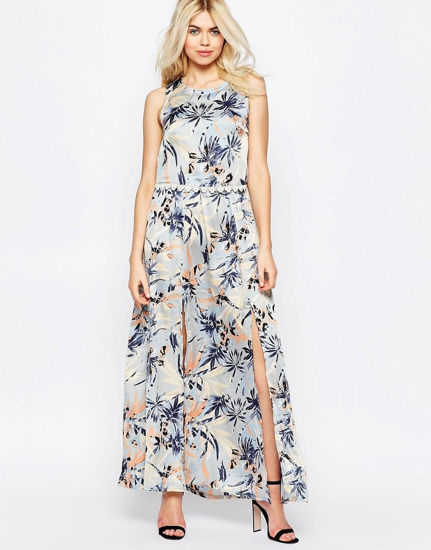 Image of girls on film floral maxi dress with crochet trim long