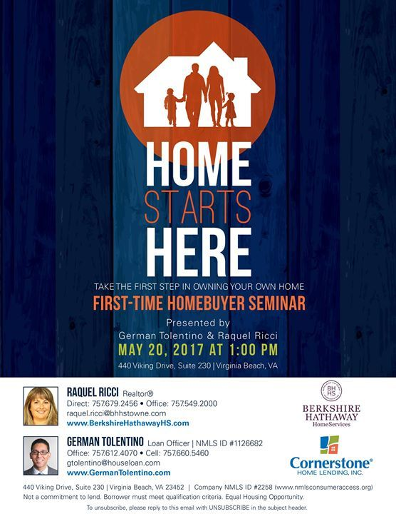 First Time Homebuyer Seminar Cornerstone Home Lending Inc Virginia Beach 20 May Https Www Evensi Us First Time Homebu Home Buying Seminar First Time