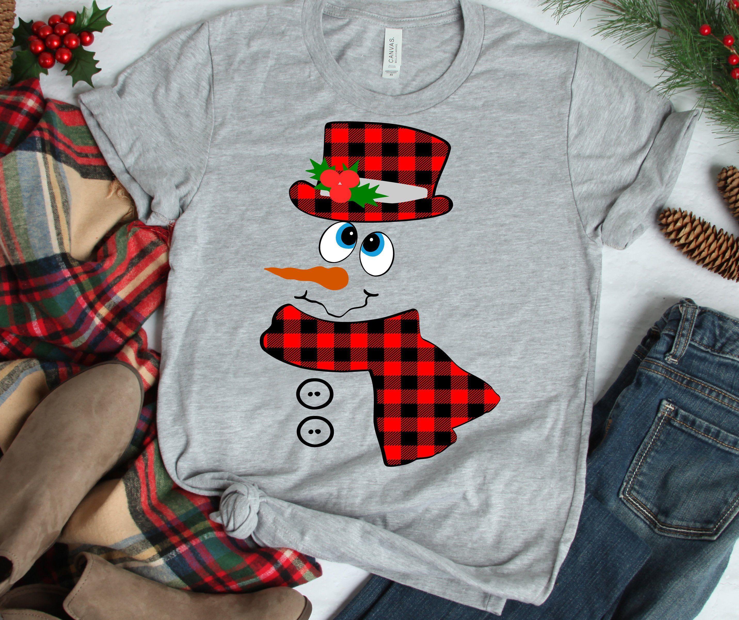Snowman Face Christmas Adult Dark T-Shirt