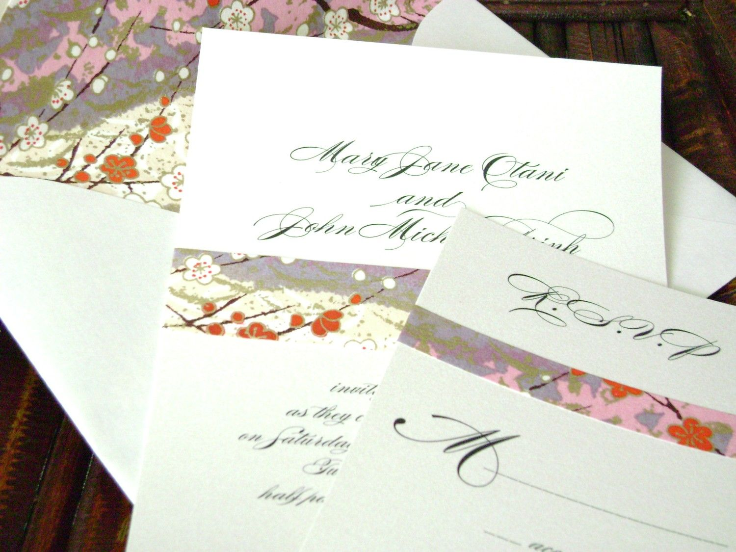 Asian Wedding Invitation with Japanese Paper and Lined Envelope ...