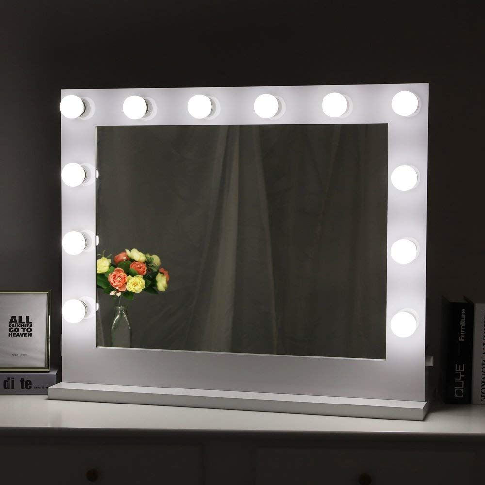 Dressing table mirrors with lights chende white hollywood lighted makeup vanity mirror light makeup