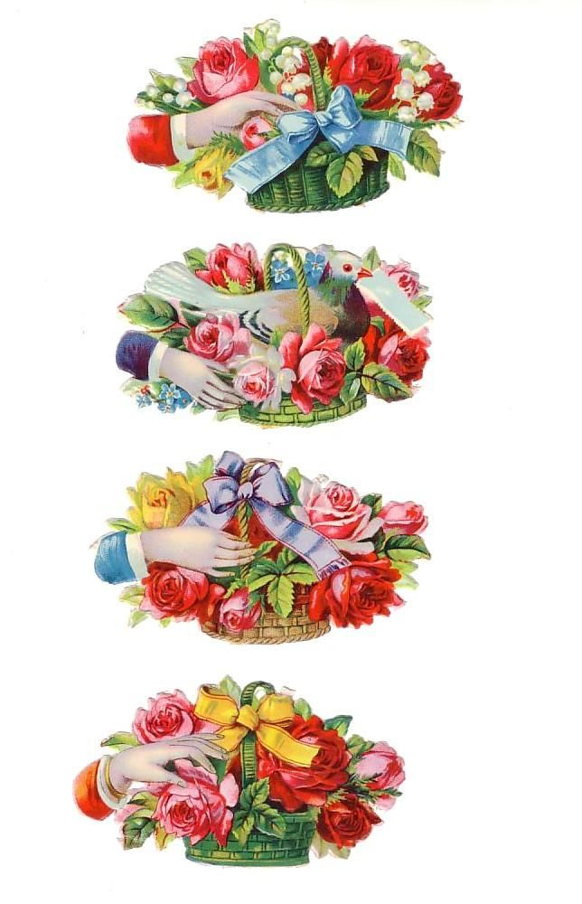Victorian Die-cut hands and Baskets (Image1)